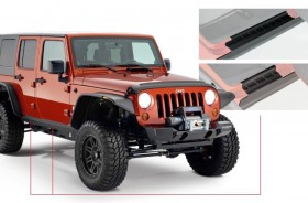 Bushwacker 14012 Trail Armor Rocker Panel Black Jeep Wrangler JK 07-18 4Door