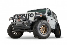 Warn Industries Rock Crawler Stubby Front Bumper with Grille Guard Tube Jeep Wrangler JK/JL / Gladiator JT 07-21 (102520)